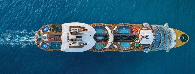 bateau de croisière Royal Caribbean vu de haut