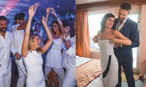 2 images, une première de jeunes qui sont sur la piste de danse d'une boîte de nuit, avec un dress code tout de blanc. La deuxième image un jeune couple qui se prépare, l'homme aide la femme à mettre sa robe élégante, tout deux sur leur 31