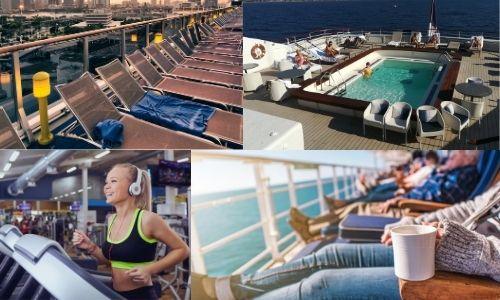 4 photos qui forment une seule. En haut à gauche, une étendue de transats d'un bateau de croisière. A sa droite, le spa d'un bateau. En bas à gauche, une jeune femme sur un tapis de course. Sur la photo de droite, des personnes qui se détende sur un transat devant la mer sur un bateau