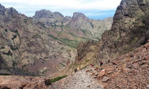 Le Monte Cinto avec randonneurs et rochers