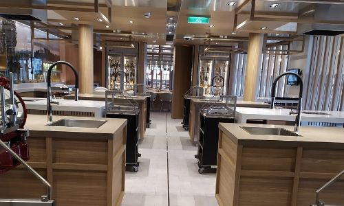 Plans de travail du Lab. On peut voir le espaces pour cuisiner.