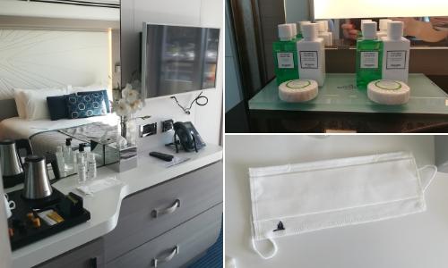 Intérieur de la cabine prestige, masque de protection et produits de toilette Hermès