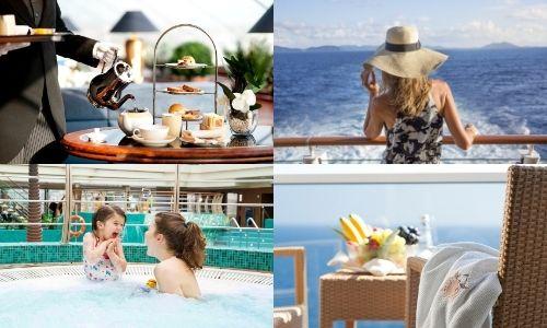 balise alt : quatre photos proportionnelles. En haut à gauche un membre de l'équipage qui sert le thé sur un buffet dressé. En haut à droite, une jeune femme de dos, accoudée à la barre du bateau qui regarde la mer. En bas à gauche, une jeune femme et sa petite fille dans une piscine de croisière. En bas à droite, un plateau de fruits sur une table de salon de terrasse d'un bateau avec une serviette de spa sur l'accoudoir d'un fauteuil.