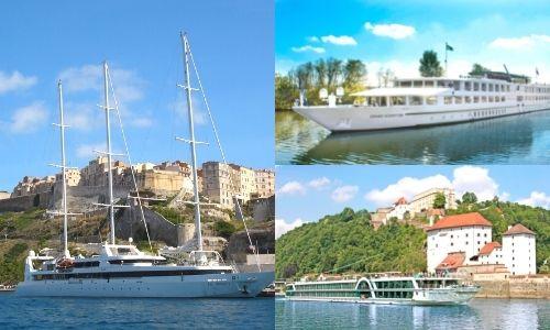 trois photos différentes des compagnies de croisières qui propose du fluvial