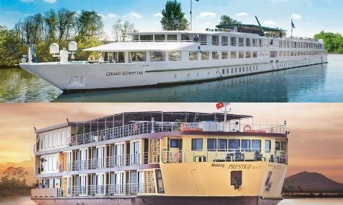 deux photos différentes des compagnies de croisières qui propose du fluvial