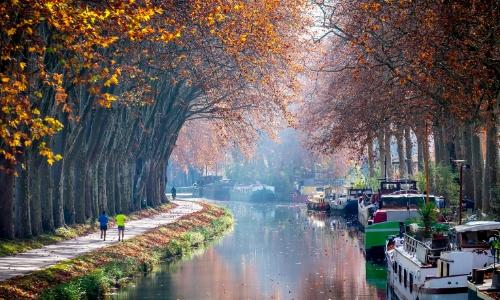 Photo du Canal du Midi avec arbres et feuilles ambiance automne, avec bateaux fluviaux