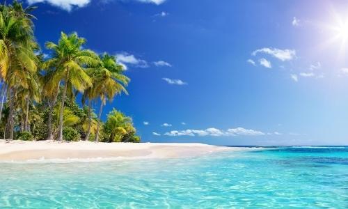Plage de sable blanc avec palmiers, eau turquoise