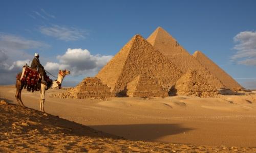 Pyramides dans la ville du Caire en Égypte avec une personne sur un dromadaire