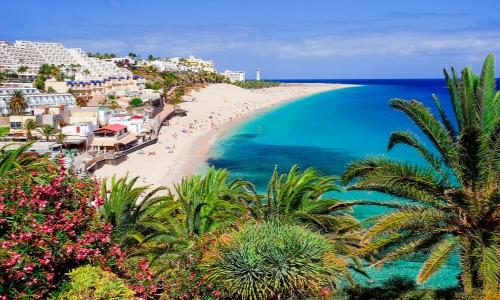 Vue sur les plages de l'île de Fuerteventura aux Canaries avec végétation, eau turquoise, sable blanc et habitations