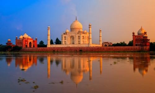 Vue sur le Taj Mahal en Inde