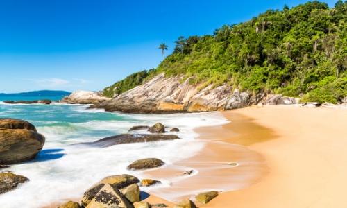 Vue sur la plage Santa Catarina au Brésil avec rochers, sable, nature, arbres