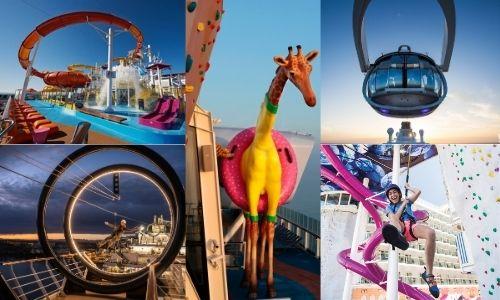 5 photos différentes d'attractions disponible sur un bateau de croisière (toboggan, capsule dans les airs, escalade, etc.)
