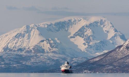 bateau de croisière sur l'eau au beau milieu d'immenses montagnes enneigées