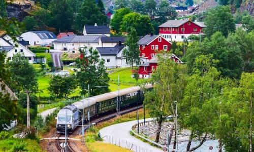 chemin de fer Myrdal-Flam, avec maisons en bois sur le côté, ambiance nature