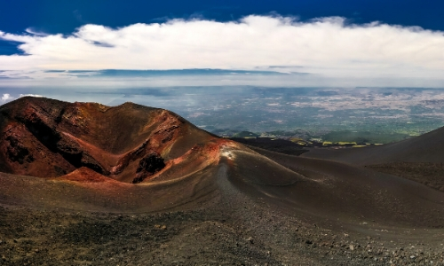 Vue du sommet de l'Etna, terre volcanique