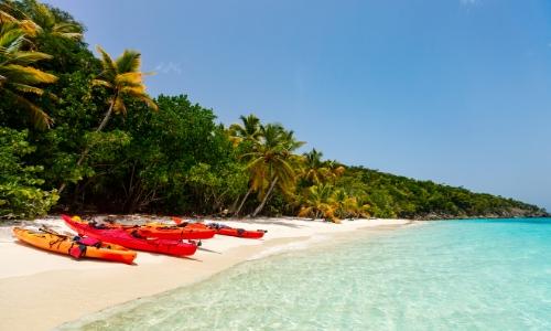 Plage des Caraïbes avec eau transparente, sable blanc, arbres comme une forêt juste à coté, et des kayaks sur le sable