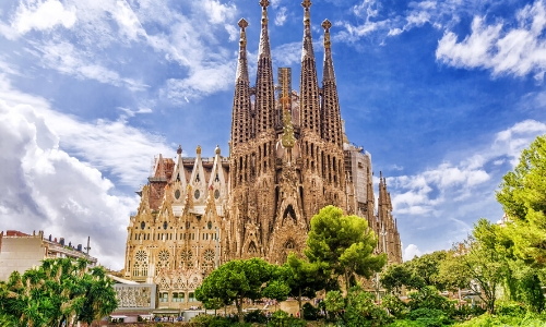 Photo de la Sagrada Familia dans son ensemble, à Barcelone
