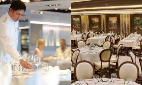 deux photos l'une à côté de l'autre avec une première d'un chef cuisinier qui prépare une table et le deuxième avec un restaurant d'un bateau de croisière prêt à accueillir les passagers