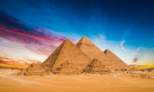Vue sur les Pyramides de Gizeh en Egypte