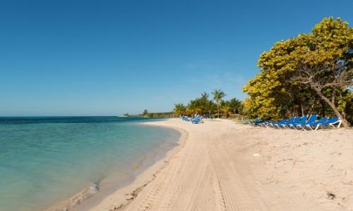 L'île privée CocoCay avec sable blanc, mer, chaises bleues et arbres, ciel bleu