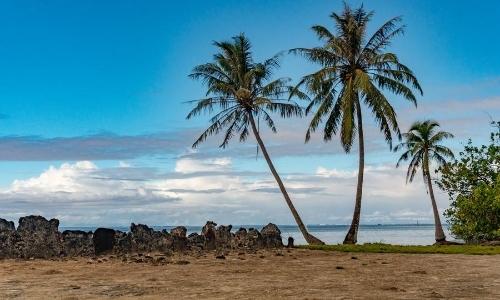 Vue sur le site archéologique de Taputapuatea avec sable marron, palmiers
