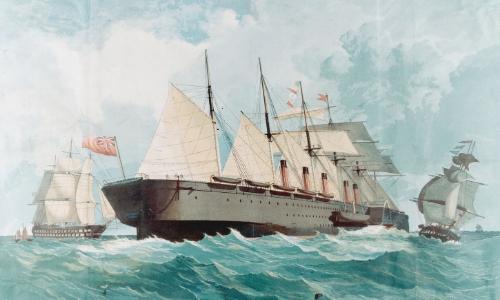 Représentation en dessin du Great Eastern de 1867 avec vagues, voiles sur le bateau