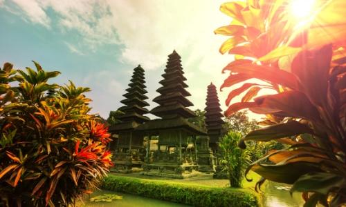 Paysage de Bali avec nature, temples, fleurs