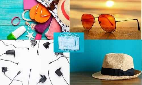 4 photos d'accessoires du quotidien qu'on peut trouver dans un sac d'un vacancier : lunettes de soleil, chapeau, crème solaire, tongs, chargeur de téléphone, masques
