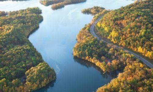 Vue aérienne du fleuve du Mississipi