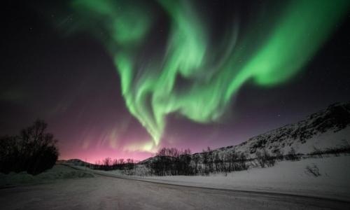 Vue sur les aurores boréales, nuances de vert dans le ciel