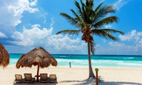 paillottes avec des transats er parasol en osier sur une plage des Caraïbes