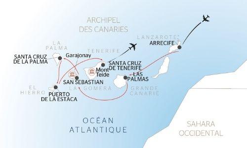 Itinéraire de la croisière aux Canaries