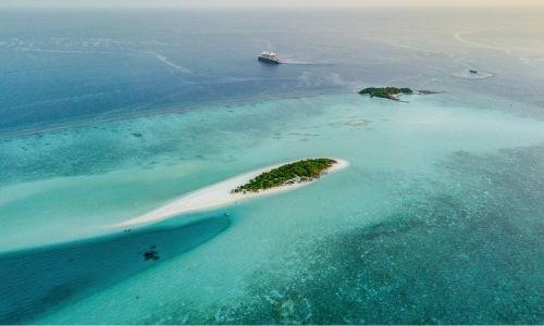 Des attols des Maldives vue aérienne