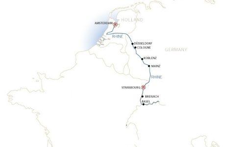 Le trajet de la croisière sur le Rhin tenu par Croisieurope