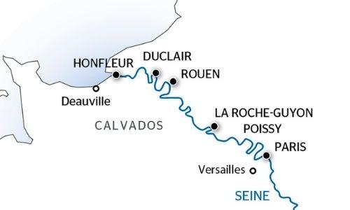 Carte du trajet de la croisière sur la Seine