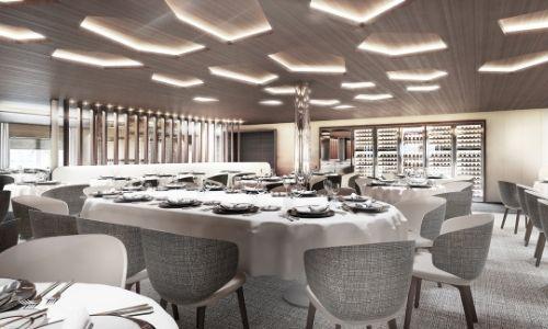 Le restaurant gastronomique du navire Commandant Charcot de Ponant